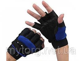 Мужские перчатки без пальцев GLV-0020, спортивные велоперчатки  Синий