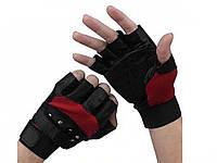 Мужские перчатки без пальцев GLV-0020, спортивные велоперчатки  Красный