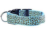 Светящийся светодиодный ошейник для собак Леопард М 40-48см Синий