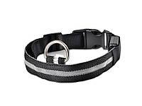 Светящийся ошейник для собак Ширина: 2.5 см, длина: 52-60 см, диапазон регулировки 8 см (Размер: XL) Чёрный с Мультицвет XL