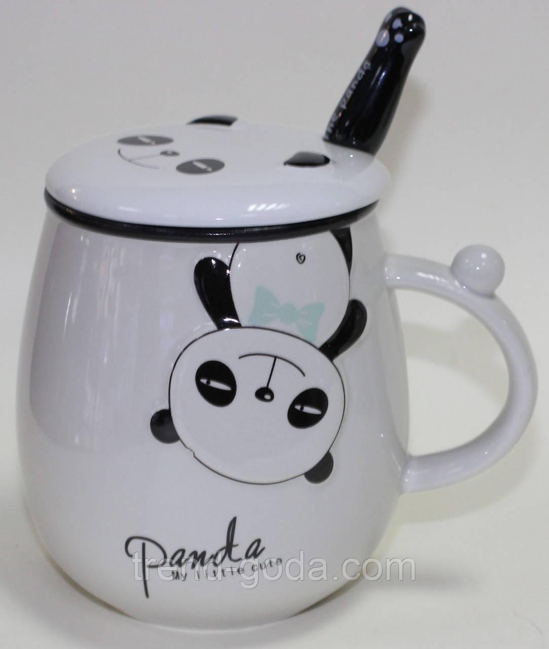 Кружка керамическая с крышкой и ложкой, Панда мальчик, 500 мл