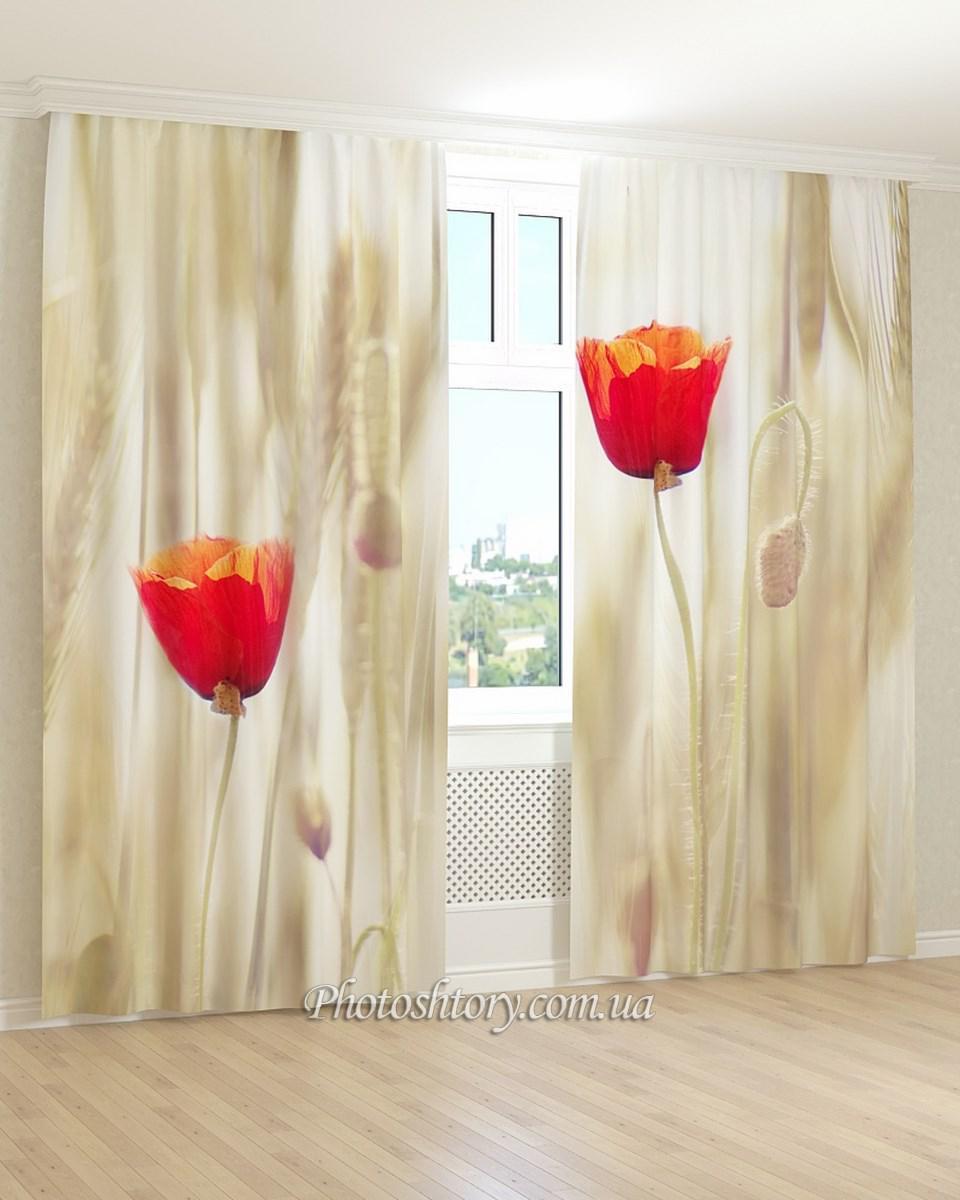 Фотошторы два красных цветка