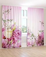 Фотошторы белые и розовые цветы 3D