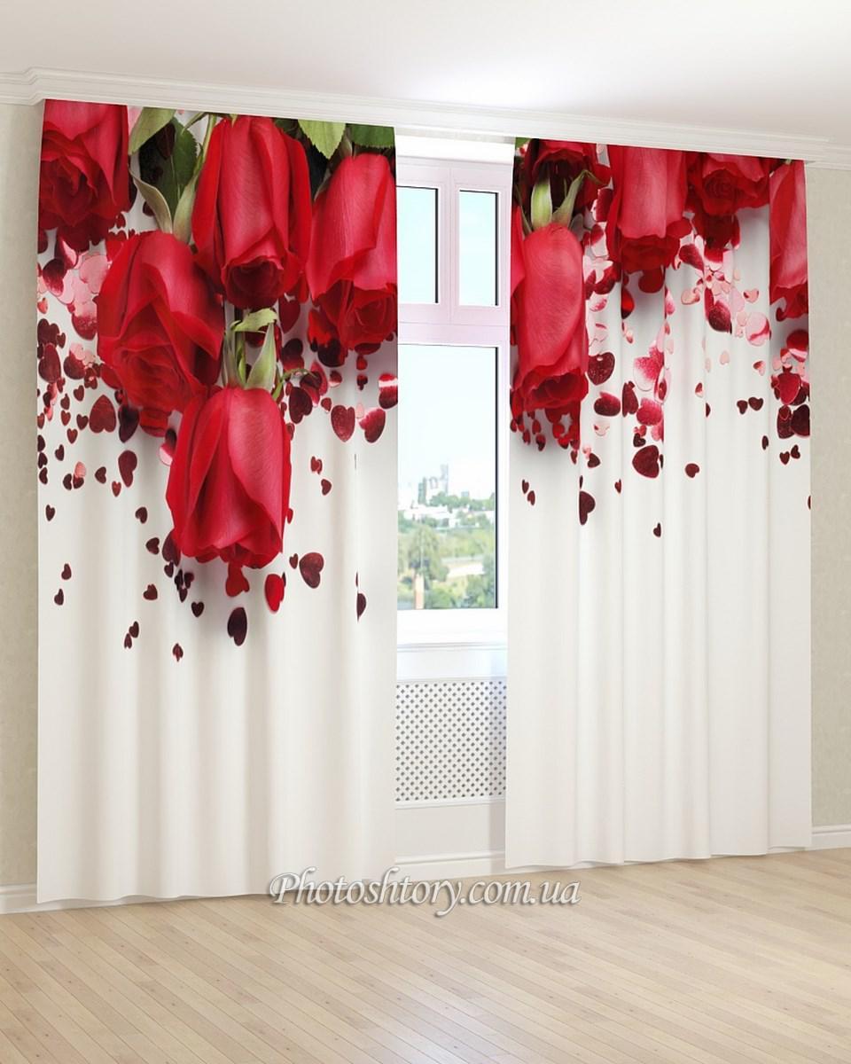 Фотошторы сердечки и красные розы