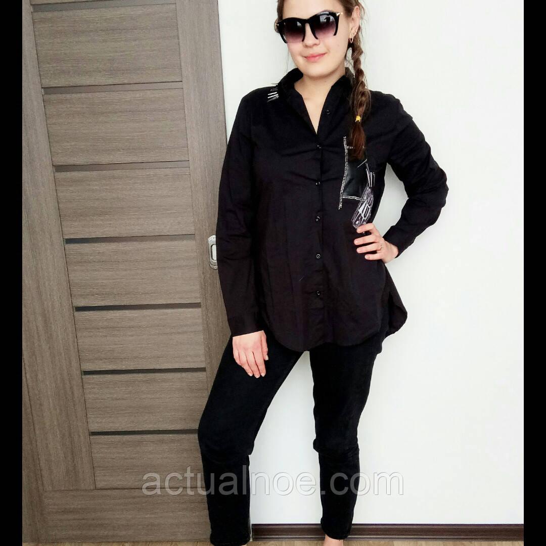 a2280c5bae3 Рубашка туника женская длинная Турция чёрная - Интернет-магазин