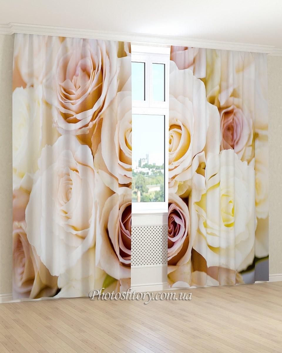 Фотошторы 3д кремовые розы