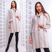 Прямое женское пальто с пуговицами принт елочка 42-44 р
