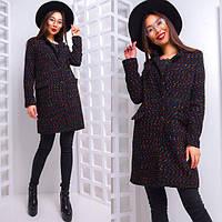 Стильное женское пальто прямого пошива из ткани букле 42-44 р