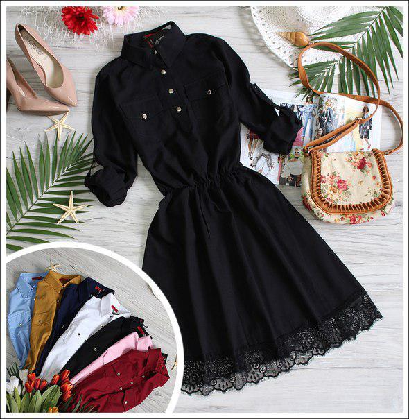 Черное летнее платье клеш лён Черный