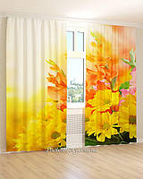 Фотошторы 3д желтые и оранжевые цветы