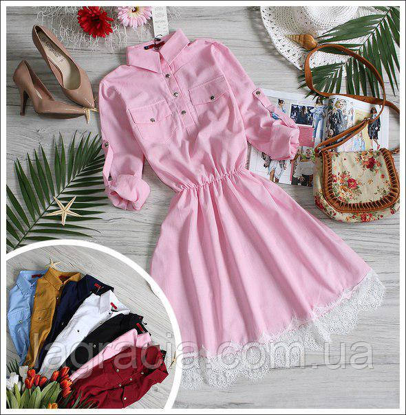 Модное легкое летнее платье (лен) Розовый