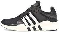 Мужские кроссовки Adidas EQT Running Support 93 Primeknit Black White Aдидас черные/белые