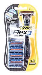 "Bic 4 шт. Трехлезвийный станок для бритья ""Flex & Easy"". Блистер"