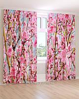 Фотошторы  розовые цветы на ветках
