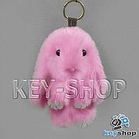 Розовый пушистый меховой брелок кролик, с кольцом на сумку, рюкзак