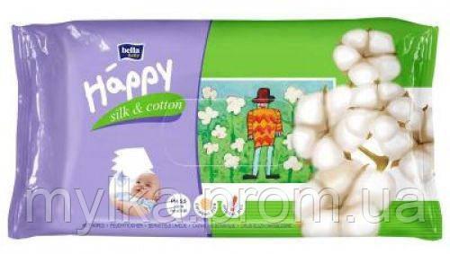 """Bella  64 шт. Детские влажные салфетки """"Baby Happy. Silk & Cotton"""". Экопак (64+64 шт)"""