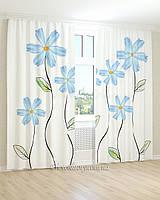 Фотошторы  3д рисунок голубых цветов