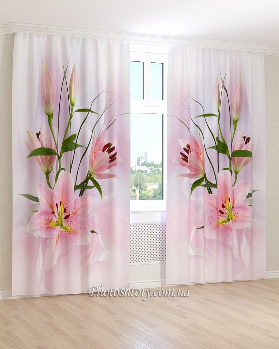 Фотошторы  розовые цветы и бутоны