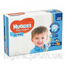 Huggies 42 шт. Подгузники Ultra Comfort. Размер 5. Для мальчиков 12-22 кг. Jumbo Pack