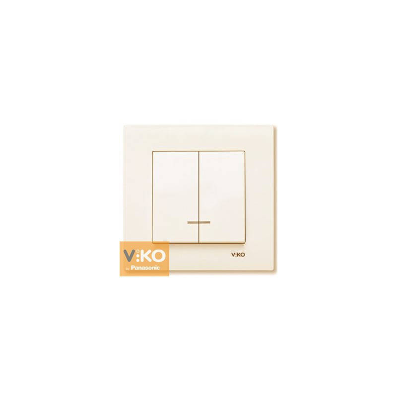 Выключатель 2-х клавишный с подсветкой Viko Karre Крем 90960150