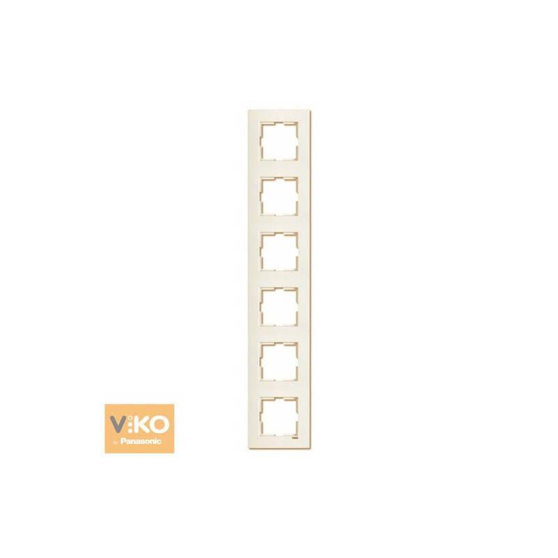 Шестерная вертикальная рамка Viko Karre Крем 90960235