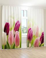 Фотошторы  3Д розовые тюльпаны