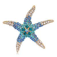 Позолоченная брошь «Голубая морская звезда», фото 1