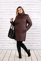 Пальто из плащевки коричневого цвета   t0724-2