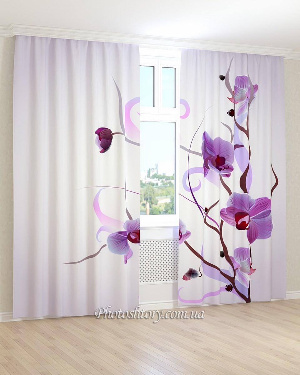 Фотошторы  фиолетовая орхидея на ветках