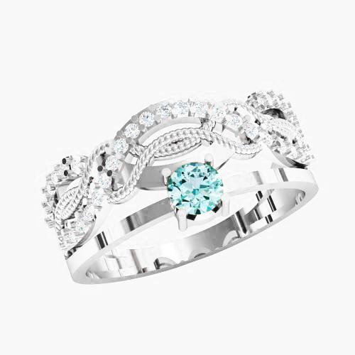 Кольцо  женское серебряное Узор KE-1438