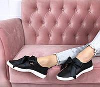 Слипоны кеды черные на белой подошве с завязкой ленточкой, фото 1