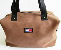 Стильная сумка нубук кожзам коричневая с черными ручками