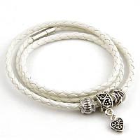 Женский белый плетеный кожаный браслет Pandora (Пандора)