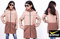 Детское кашемировое пальто Микс беж+темно-синий