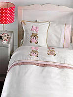 Комплект постельного белья Gelin Home + вязаный плед  детское розовый