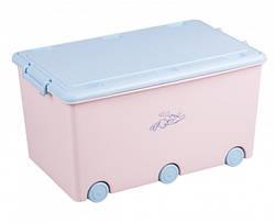 Ящик для игрушек Tega Kroliczki KR-010 розовый с синей крышкой