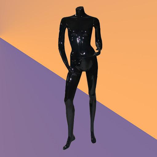Манекен женский без головы глянцевый черный