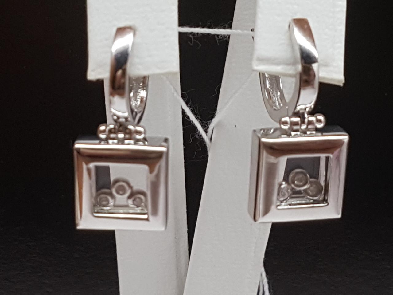 Золотые серьги с фианитами. Артикул 101058б