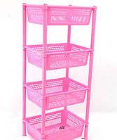Этажерка для игрушек розовая