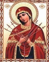 Алмазная вышивка Семистрельная икона Божией Матери 34 х 24 см (арт. PR707) частичная выкладка