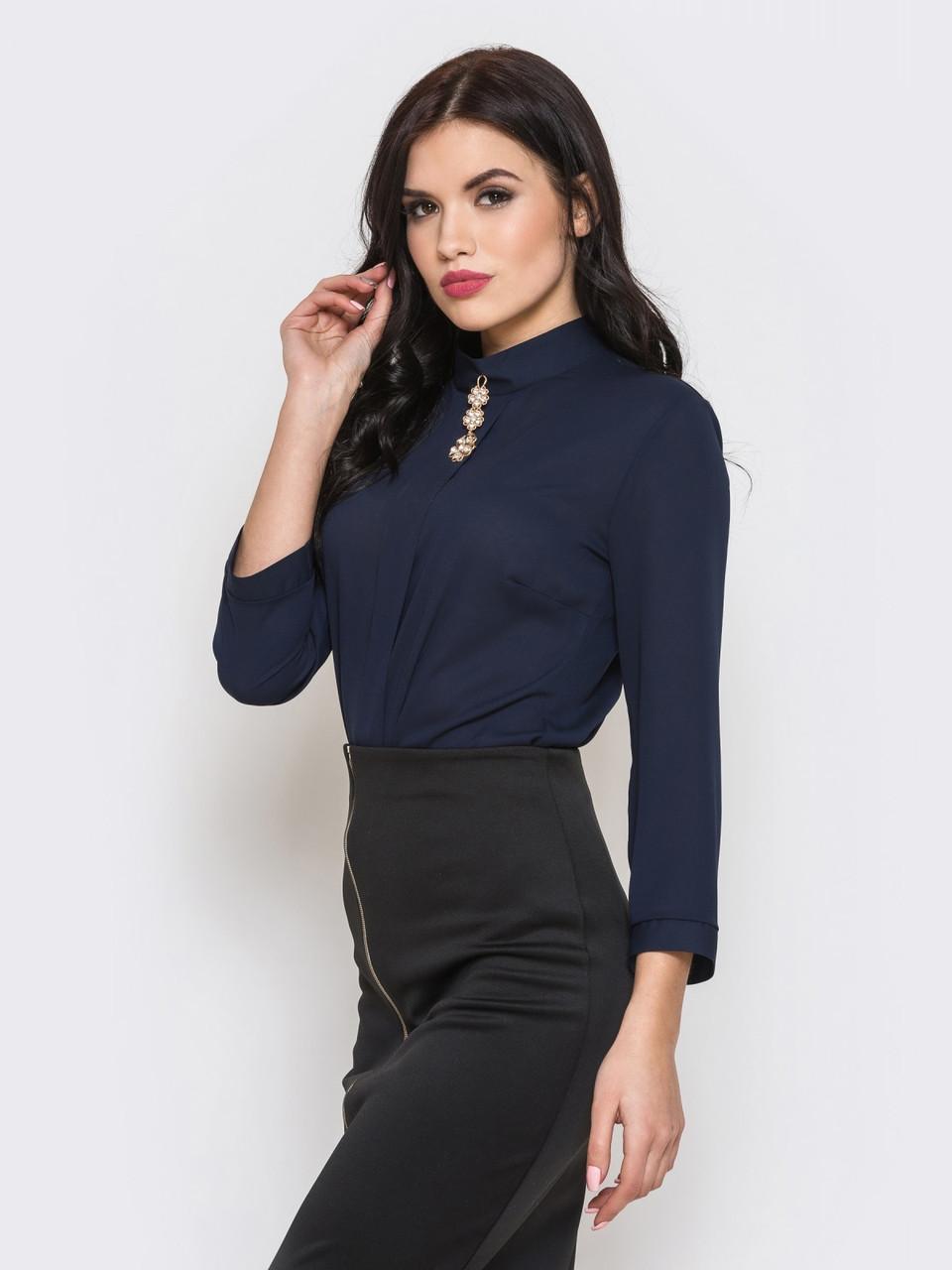 (XS, M, L) Стильна класична темно-синя блузка Hens