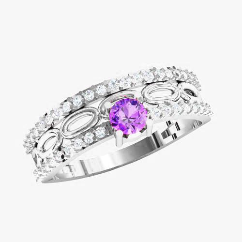Кольцо  женское серебряное Параллели KE-1439