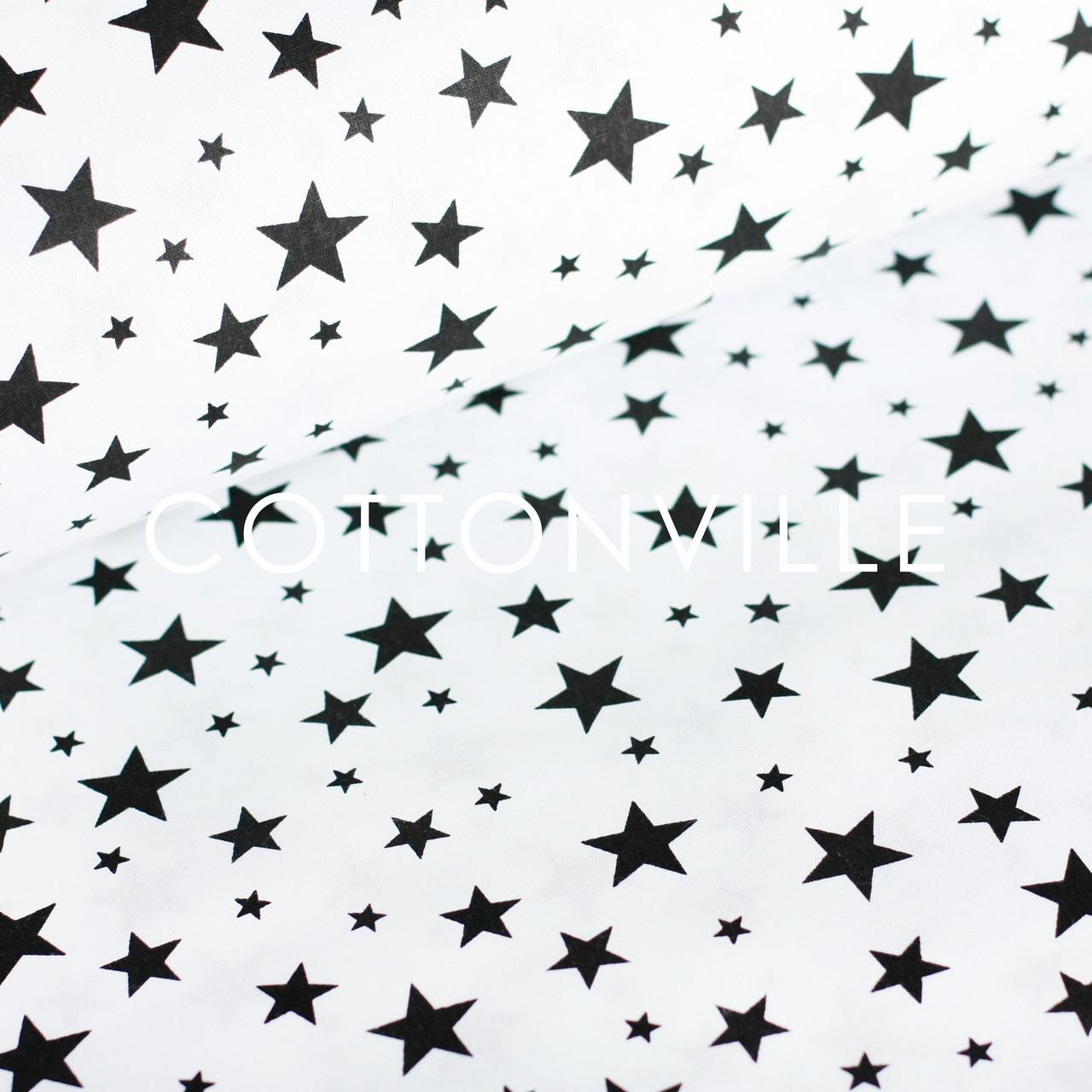 ✁ Відрізи бавовняної тканини Зіркова розсипь чорна на білому