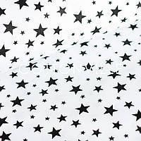 ✁ Отрезы хлопковой ткани Звездная россыпь черная на белом, фото 1