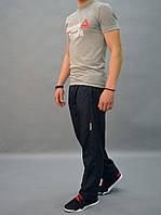 Демисезонные штаны из плащевки - Reebok (рибок) / размеры 46-54, темно-синие