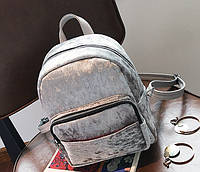 Рюкзак велюровый серый
