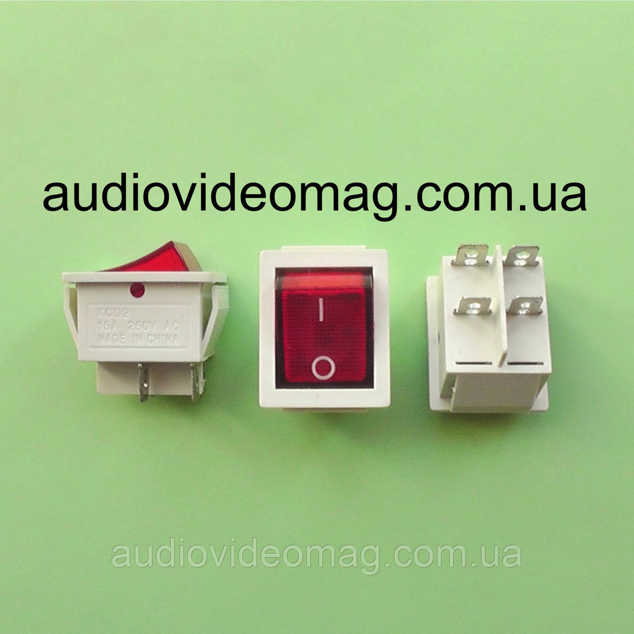 Кнопочный выключатель 28.5 х 22 мм, 250V 15A, цвет корпуса - белый