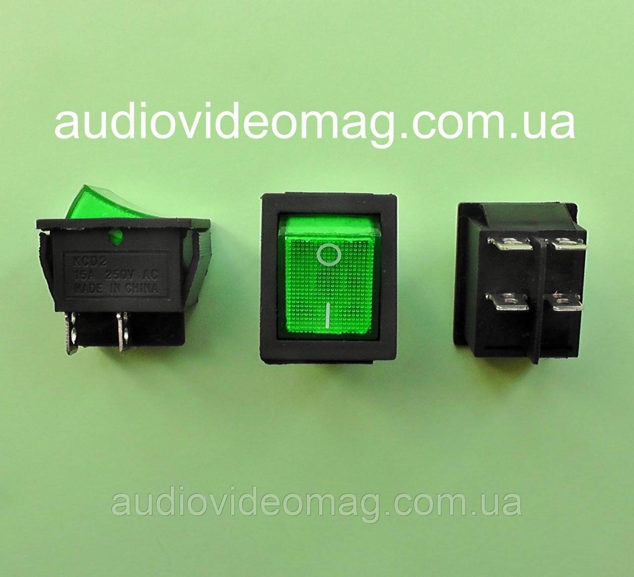 Кнопочный выключатель 28.5 х 22 мм, 250V 15A, цвет клавиши - зелёный