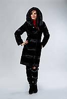 Френч из черного мутона с капюшоном, комбинированный со стриженной нутрией, фото 1