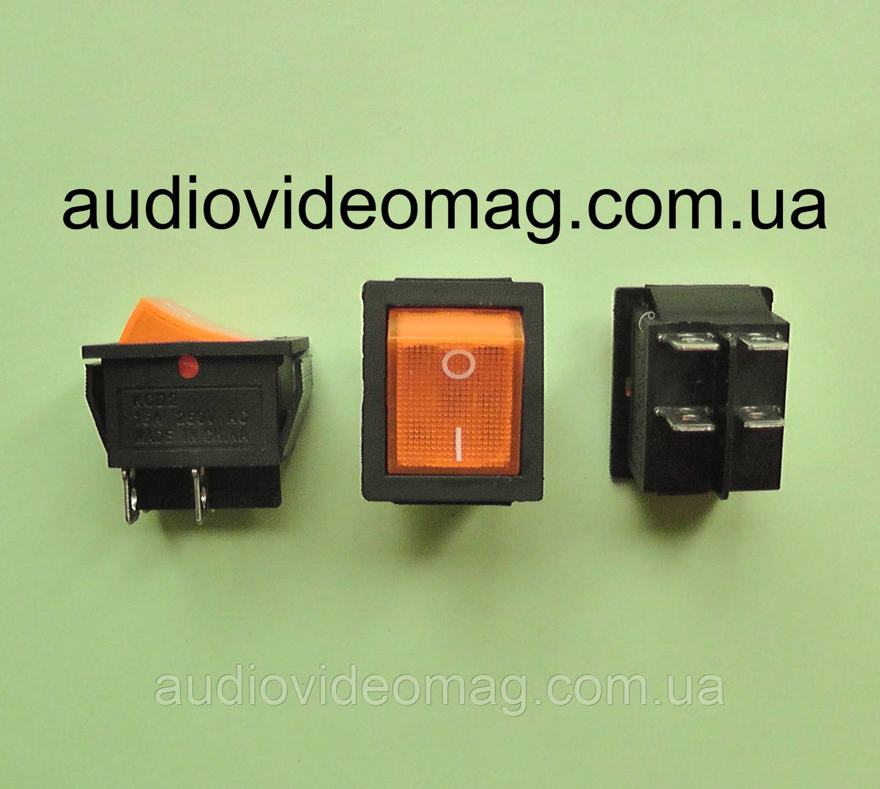Кнопочный выключатель 28.5 х 22 мм, 250V 15А , цвет клавиши - оранжевый